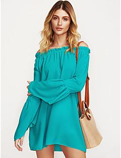 billige Minikjoler-Dame Plusstørrelser Chiffon Kjole - Ensfarvet Mini Bateau-hals Hvid / Sommer