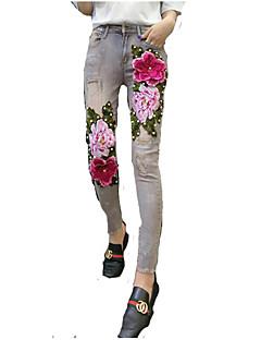 billige Kvinde Underdele-Dame Gade Jeans Bukser Blomstret