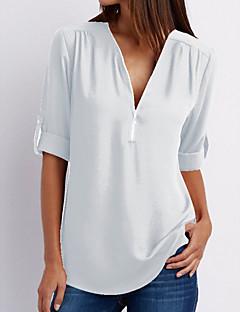 abordables Tee-shirts pour Femme-Tee-shirt Femme, Couleur Pleine - Coton Col en V