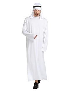 billige Halloweenkostymer-Arabian Kostume Herre Voksen Halloween Halloween Karneval Maskerade Festival / høytid Drakter Hvit Ensfarget Halloween