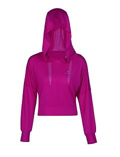 billiga Träning-, jogging- och yogakläder-Dam Öppen Rygg T-shirt för jogging sporter Mode Elastan Huvtröja För Yoga, Fitness, Gym Långärmad Sportkläder Andningsfunktion, UPF50+ Microelastisk Svart