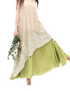 Χαμηλού Κόστους Φορέματα Μεγάλα Μεγέθη-Γυναικεία Εξόδου Βαμβάκι Φαρδιά Swing Φόρεμα Μακρύ
