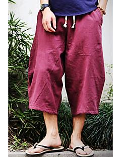 billige Herremote og klær-Herre Bomull / Lin Løstsittende Chinos / Shorts Bukser Ensfarget