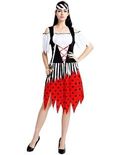 billige Halloweenkostymer-Pirates of the Caribbean Drakter Dame Halloween / Karneval / Barnas Dag Festival / høytid Halloween-kostymer Svart Ensfarget / Polkadotter / Halloween Halloween