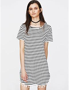 tanie AW 18 Trends-Damskie T Shirt Sukienka - Prążki Przed kolano