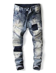 billige Herrebukser og -shorts-Herre Gatemote Jeans Bukser Fargeblokk BLå & Hvit