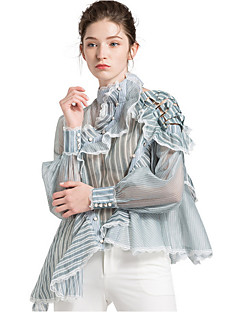 billige Bluse-kvinders bluse - stribet rundt hals
