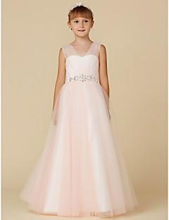 tanie Ubiór ślubny dla dzieci-Księżniczka Sięgająca podłoża Sukienka dla dziewczynki z kwiatami - Tiul Bez rękawów W serek z Marszcząca się / Kryształy / kryształy górskie przez LAN TING BRIDE®