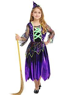 baratos Fantasias de Crianças-Bruxa Roupa Para Meninas Dia Das Bruxas / Carnaval / Dia da Criança Festival / Celebração Trajes da Noite das Bruxas Roxo Sólido / Halloween Dia Das Bruxas