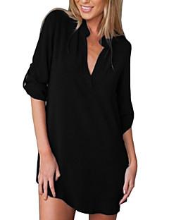 billige Skjorte-Krave Dame - Ensfarvet Skjorte