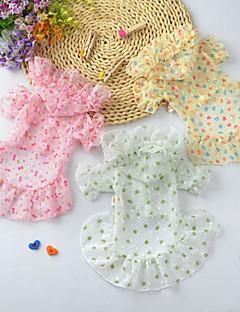 billiga Hundkläder-Hund / Katt Klänningar Hundkläder Hjärta / Rosett / Blomma Gul / Rosa / ljusgrön Chiffong Kostym För husdjur Sommar Dam Klänningar & Kjolar / Minimalistisk Stil