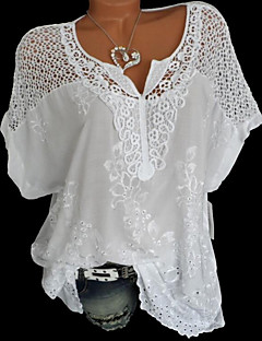 cheap Top Sellers-Women's Basic Shirt - Solid Colored Lace V Neck / Summer