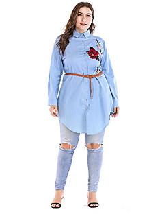 billige Skjorte-Krave Dame - Blomstret I-byen-tøj Skjorte