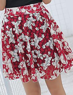 billige Kvinde Underdele-Dame A-linje Nederdele - I-byen-tøj Blomstret Høj Talje