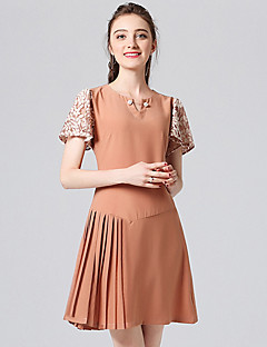 Χαμηλού Κόστους Φορέματα Μεγάλα Μεγέθη-Γυναικεία Γραμμή Α Φόρεμα - Μονόχρωμο Πάνω από το Γόνατο
