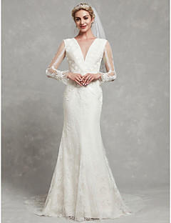 billiga Brudklänningar-Åtsmitande V-hals Kapellsläp Spets / Tyll Bröllopsklänningar tillverkade med Spets av LAN TING BRIDE®