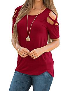 billige Kvinde Toppe-Dame - Ensfarvet Kryds Gade T-shirt