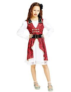 billige Halloweenkostymer-Pirat Kostume Jente Halloween Karneval Barnas Dag Festival / høytid Halloween-kostymer Drakter Rose Ensfarget Halloween Halloween