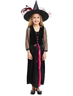 billige Barnekostymer-Trollmann / heks Kostume Jente Barn Halloween Jul Halloween Karneval Festival / høytid Polyester Drakter Svart Ensfarget Halloween