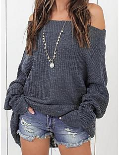 baratos Suéteres de Mulher-Mulheres Para Noite Manga Longa Solto Longo Pulôver - Sólido / Ombro a Ombro