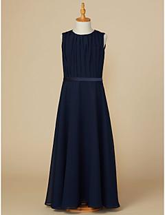 Χαμηλού Κόστους Φορέματα για παρανυφάκια-Γραμμή Α Με Κόσμημα Μέχρι τον αστράγαλο Σιφόν Φόρεμα Νεαρών Παρανύμφων με Ζώνη / Κορδέλα / Πλισέ με LAN TING BRIDE®
