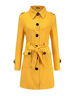 billige Kvinder Overtøj-Dame Ensfarvet Basale Frakke