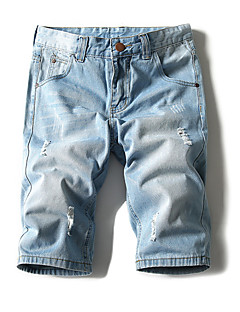 billige Herrebukser og -shorts-Herre Grunnleggende Bomull Jeans / Shorts Bukser - Hull, Ensfarget