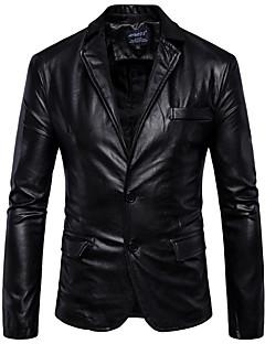 Χαμηλού Κόστους Men's Leather Jackets-Ανδρικά Επαγγελματική Κανονικό Jeci Piele, Μονόχρωμο Κολάρο Πουκαμίσου Μακρυμάνικο PU Καφέ / Μαύρο XL / XXL / XXXL