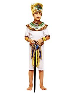 billige Halloweenkostymer-Farao Kostume Gutt Halloween Karneval Barnas Dag Festival / høytid Halloween-kostymer Drakter Hvit Ensfarget Halloween Halloween