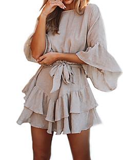Χαμηλού Κόστους Ώμοι Έξω-Γυναικεία Βασικό / Κομψό Flare μανίκι Θήκη Φόρεμα - Μονόχρωμο, Με Κορδόνια Πάνω από το Γόνατο