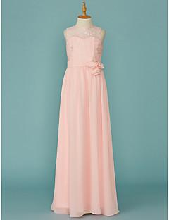 Χαμηλού Κόστους Φορέματα για παρανυφάκια-Γραμμή Α Με Κόσμημα Μακρύ Σιφόν / Δαντέλα Φόρεμα Νεαρών Παρανύμφων με Δαντέλα / Ζώνη / Κορδέλα με LAN TING BRIDE®