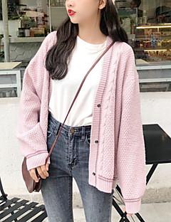 baratos Suéteres de Mulher-cardigan de manga comprida para mulher - decote em v de cor sólida