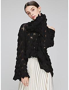baratos Suéteres de Mulher-Mulheres Para Noite Básico Manga Longa Solto Pulôver - Sólido / Ombro a Ombro / Primavera / Outono