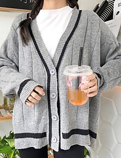 baratos Suéteres de Mulher-Mulheres Manga Longa Carregam - Geométrica / Decote V