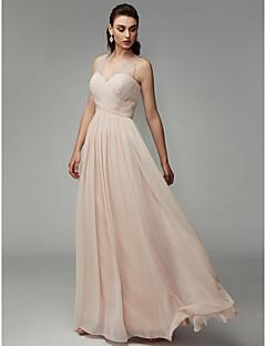 baratos Vestidos de Formatura-Linha A Decote V Longo Chiffon Evento Formal Vestido com Miçangas / Pregas de TS Couture®