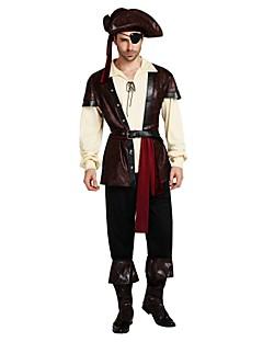 billige Halloweenkostymer-Pirates of the Caribbean Kostume Herre Voksen Videregående skole Halloween Halloween Karneval Maskerade Festival / høytid Drakter kaffe Ensfarget Halloween