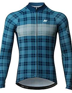 billige Sykkelklær-Mysenlan Herre Langermet Sykkeljersey - Blå Rutet Sykkel Jersey Polyester / Mikroelastisk / YKK-glidelås