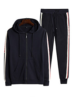 baratos Abrigos e Moletons Masculinos-hoodie de manga comprida para homem - com capuz geométrico