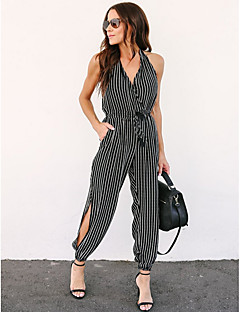 billige Jumpsuits og sparkebukser til damer-Dame Sexy Kjeledresser - Stripet, Åpen rygg / Trykt mønster Dyp V / Ut på byen