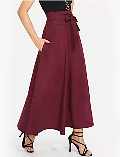 cheap Women's Bottoms-Women's Going out Asymmetrical Swing Skirts - Solid Colored High Waist / Loose