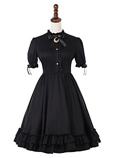 billiga Lolitamode-Casual Lolita Klänning Vintage Gotiskt Dam Klänningar Cosplay Svart Puff Kortärmad Midi Kostymer