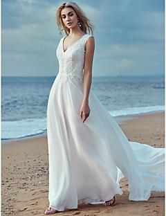 billiga Brudklänningar-A-linje V-hals Svepsläp Chiffong / Spets Bröllopsklänningar tillverkade med Spets av LAN TING BRIDE®