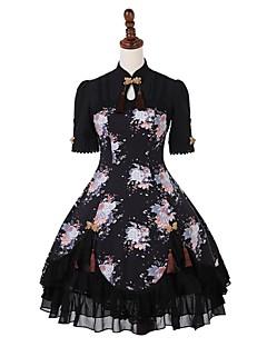 billiga Lolitamode-Klassisk / Traditionell Lolita Casual Lolita Klänning Traditionellt / Vintage Kinesisk stil Snörning Dam Klänningar Cosplay Svart Puff Kortärmad Knälång Halloweenkostymer