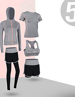 billiga Träning-, jogging- och yogakläder-Dam Ficka Yoga Suit - Grön, Blå, Rosa sporter Rand Elastan Hög midja T-shirt / Huvtröja / Bra Top Dans, Löpning, Fitness Långärmad Sportkläder Anatomisk design, Magkontroll, Sportflex Hög Elasisitet