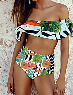 Χαμηλού Κόστους Women's Swimwear-Γυναικεία Βασικό Στράπλες Tankini Ψηλή Μέση Γεωμετρικό / Συνδυασμός Χρωμάτων