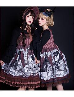 billiga Lolitamode-Gotisk Lolita Gotisk Lolita Chiffong Dam jsk / Jumper Kjol Cosplay Grå / Brun Ärmlös Halloweenkostymer
