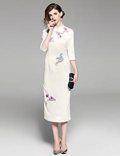 billige Vintage-dronning-Dame Vintage / Kineseri Skede Kjole - Blomstret, Broderi Midi Rose