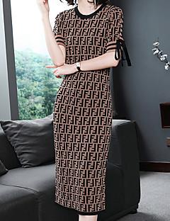 Χαμηλού Κόστους Γυναικεία Φορέματα-Γυναικεία Βασικό Θήκη / Πλεκτά Φόρεμα - Καρό Μίντι