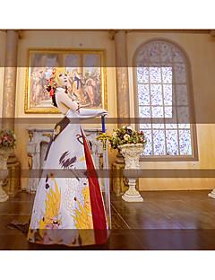 """billige Anime cosplay-Inspirert av Skjebne / Grand Order Saber Lily / Altria Pendragon Anime  """"Cosplay-kostymer"""" Cosplay Klær Blomstermønster Kjole / Hansker / Sløyfe Til Dame Halloween-kostymer"""