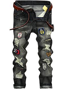 billige Herrebukser og -shorts-Herre Aktiv Store størrelser Bomull Tynn Jeans Bukser - Kamuflasje Hull Grå